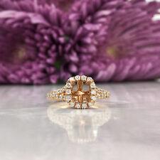 1.80 Ct Cushion Halo Diamond Real Rose Gold Semi Mount Engagement Ring