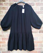 H&M 2020 Black Puff Balloon Sleeve Knee Long Tiered Tunic Dress size L 14 16 18