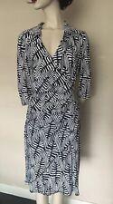Joseph Ribkoff, Black/White,V-Neck,Wrap Style Dress, Size UK 14,USA12