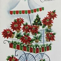 Vintage Mid Century Christmas Greeting Card Red Poinsettias Flower Floral Cart