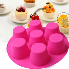 7 Cavity Silicone Cupcake Cake Mold Muffin Chocolate Pudding Baking Tray Pan