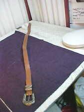 Vintage Brown Belt w/Metal Flower Designed Buckle/Tip/Loops-Free Shipping