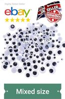 120 MIXED PACK x peel off sticker's  WIGGLY WIGGLE EYES GOOGLE GOOGLY  CRAFT