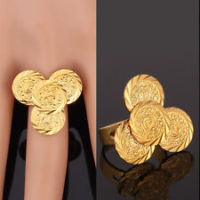 Allah Coins Band Ring Fashion Women Open Ring 18K Gold Plated Jewelry Resizable