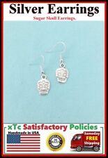 Beautiful SUGAR SKULL Silver Dangle Earrings.