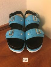New HUNTER Teal Turquoise Platform Wedge Sandals Rubber Leather Buckle US 8 G46
