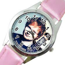 Ed Sheeran cantante estrella de música Rosa Acero Inoxidable Malla de Cuero Reloj de CD Redondo