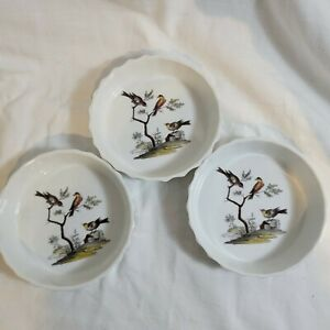 "L Lourioux Le Faune-Birds-Fireproof Porcelain-Circular Baking Dishes -France- 5"""