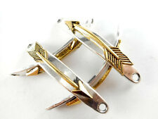 4 Gold Plated Curved Arrow Silver Plated Bracelet Link/Connector Findings 66200