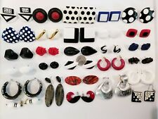 LARGE AWESOME Funky Retro Vintage Mod Plastic+ Pierced Earrings LOT