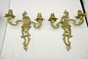 Vintage Pair Brass Twin Branch Wall Light Sconces Classical Design 1960s Project