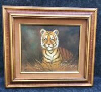 "ORIGINAL Framed PAINTING-TIGER IN GRASS-Oil on canvas-signed Rex 10""x8"""