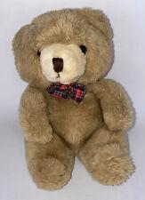 Vintage 1986 Cuddle Wit Bear Tan Brown Bow Tie Plush Stuffed Animal