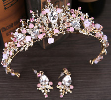Pink Rhinestone/Crystal Tiara Hair Band Bridal Crown Headband with Earring