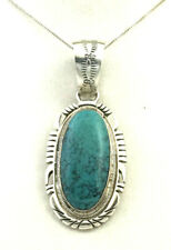 Pendant w/Hand Cut Border Native American Sterling Silver Turquoise