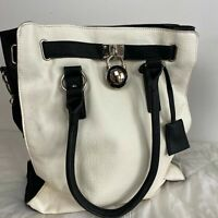 Novo Women's Black White Faux Leather Lock Medium Handbag