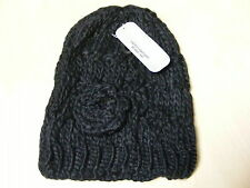 Ladies Chunky Cable Knit Beanie Hat With Flower.winter Ski 5 Colours Black Hai-756