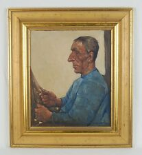 Willem Van Den Berg Painting Dutch Fisherman Pierced Gold Earring Mending Nets