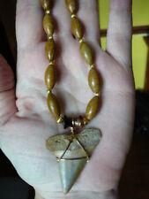 "(s691-13) 1-3/4"" MAKO FOSSIL Shark Tooth teeth tan jasper gemstone bead necklace"