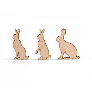 Wooden MDF 3mm Thick Hares Rabbits Craft Shapes Sitting Rabbit Hare Decorations
