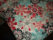WORLD MARKET BLACK RED TEAL AMBER MEDALLION FLORAL (1) OBLONG TABLECLOTH 60 X 90