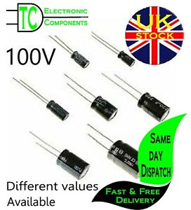 100v Electrolytic Capacitors Radial (Different values available)  **UK Stock**