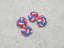 BLUE WHITE RED FABRIC KNOT CUFFLINKS - GB / BRITISH / UK COLOURS