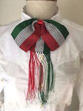 Mexican Charro Moño Tricolor Bow Tie Green White Red Striped Rojo Verde Blanco