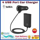 BELKIN 4 Port USB Passenger Car Charger Cable Road Rockstar Back Seat 7.2Amp 36W