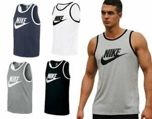 Mens Vest Top Logo Sports Gym Active Wear Tank Top T shirt New