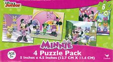 "Jigsaw Puzzle DISNEY MINNIE MOUSE 6 pcs each 5"" x 4.5"" 4  Pack Cardinal"