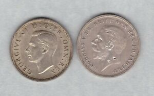 DAMAGED 1935 & 1937 GEORGE V & VI SILVER CROWNS IN NEAR EXTREMELY FINE CONDITION