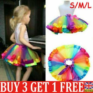 Kids Child Girl Rainbow Bow Colorful Tutu Skirt Tulle Tutu Mini Dress Dancewear-