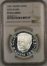 1981 Austria 500 Schillings Otto Bauer Silver Proof Coin NGC PF-64 Cameo