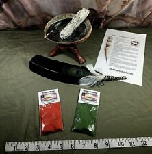 SMUDGE KIT ABALONE SHELL STAND SAGE FEATHER DRAGONS BLOOD MONEY INCENSE RITUAL
