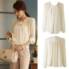 Fashion Women Shirts Long Sleeve Tops Business Blouse Tops Chiffon Shirts White