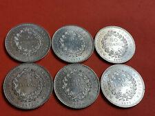 Lot 6 pièces argent 50 Francs Hercule an 1974 / 75 / 76 / 77 / 78 / 79 Lot n° 6