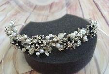 Davids Bridal Tiara Collection Headpiece Rhodium Pearl Crown W/ Apple Stones a11