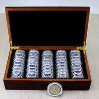 50PC 46MM Commemorative Coin Storage Case with Wooden Box Display Tool Holder