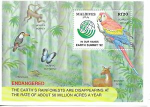 MALDIVES 1992 Scarlet Macaw Mini Sheet  MINT NH