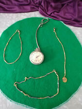 POCKET WATCH WESTCLOX SCOTTY WITH MATCHING CHAIN PLUS 3 WATCH CHAINS