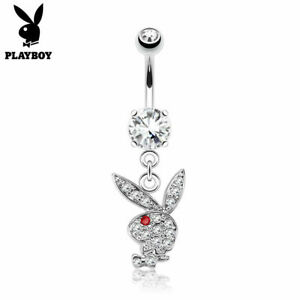 Playboy Bunny Dangle Belly Ring Paved CZ Gems Surgical Steel Pierced Navel