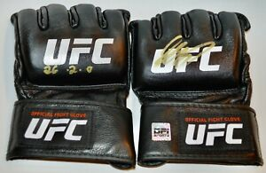 AUTOGRAPHED DPISPORTS GEORGES ST PIERRE SET OF UFC GLOVES INSCRIPTED 26-2-0