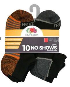 Fruit of the Loom Boys 10 Pair No Show Socks NEW Size Medium Shoe Size (9-2.5)