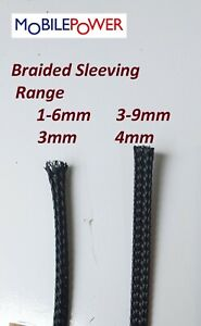 3mm or 4mm Expandable Braided flexible Sleeving by the metre Black