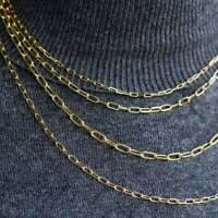Solid 14K Yellow Gold Paper Clip Chain Necklace, Rectangle Long Link Necklace