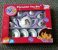Nick Jr. Dora the Explorer 13 Piece Gardening Porcelain Collectible Tea Set NEW