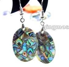 SALE Big 18*25mm Oval natural Multicolor Blue Abalone Shell Dangle earring-e327