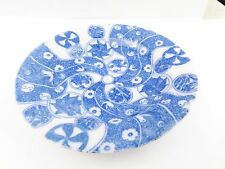 ANTIQUE EARLY BLUE WHITE JAZZY PSYCHEDELIC PATTERN PLATE