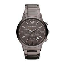 NEW Emporio Armani AR2454 Mens Gun Metal Grey Steel Chronograph Watch